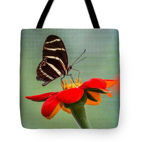 Tote Bag featuring the photograph Butterfly Zebra Longwing On Zinnia by Patti Deters