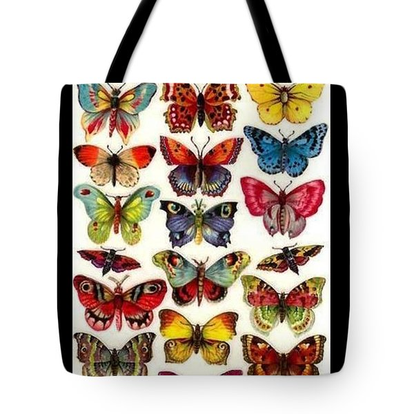 Tote Bag featuring the painting Butterflys by Pg Reproductions