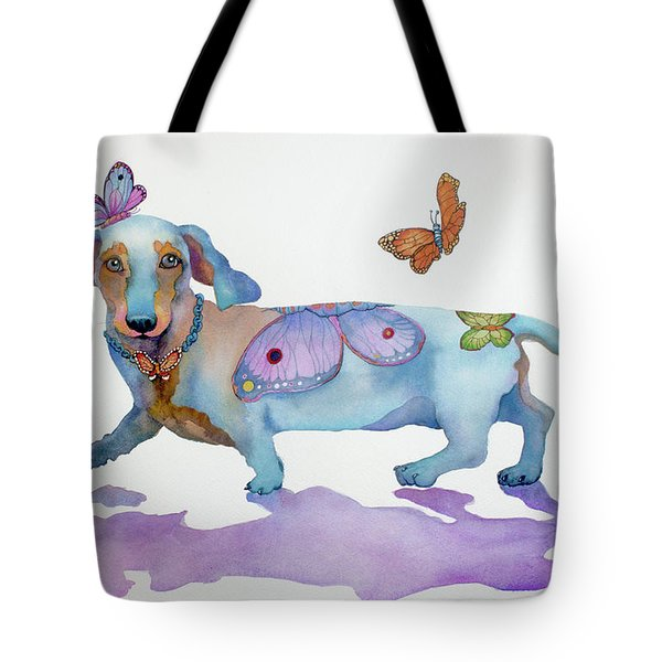 Butterfly Doxie Doo Tote Bag