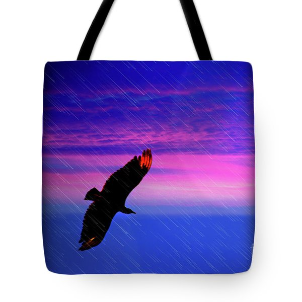 Buzzard In The Rain Tote Bag by Al Bourassa