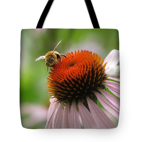 Tote Bag featuring the photograph Buzzing The Coneflower by Kimberly Mackowski