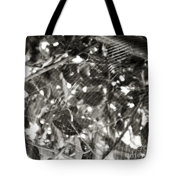 Tote Bag featuring the photograph Bw Cobweb Tree by Megan Dirsa-DuBois