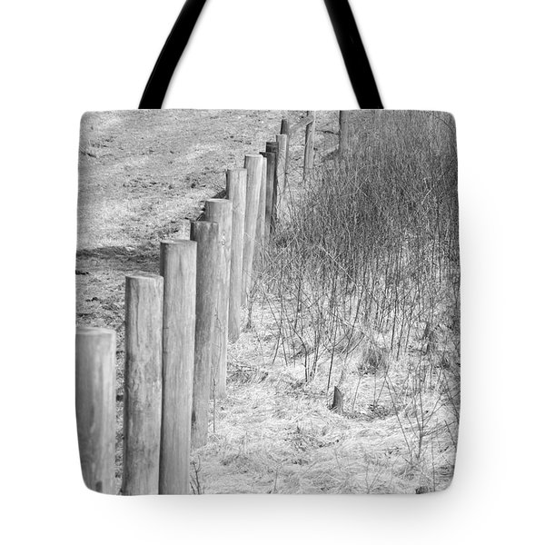 Bw Fence Line Tote Bag by Erick Schmidt