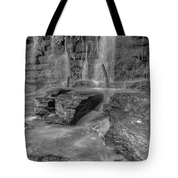 Bw Rock Wall Waterfall Tote Bag