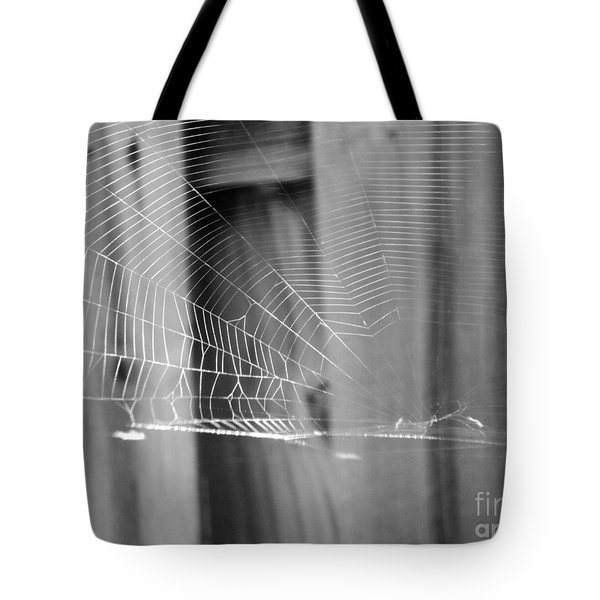 Tote Bag featuring the photograph Bw Spiderweb by Megan Dirsa-DuBois