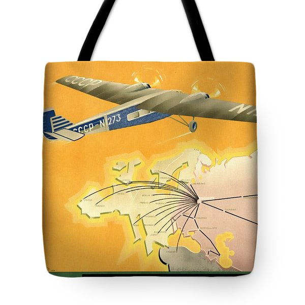 By Air To Ussr With The Soviet Union's Chief Cities - Vintage Poster Restored Tote Bag