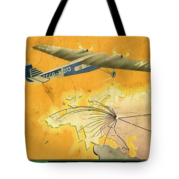 By Air To Ussr With The Soviet Union's Chief Cities - Vintage Poster Vintagelized Tote Bag