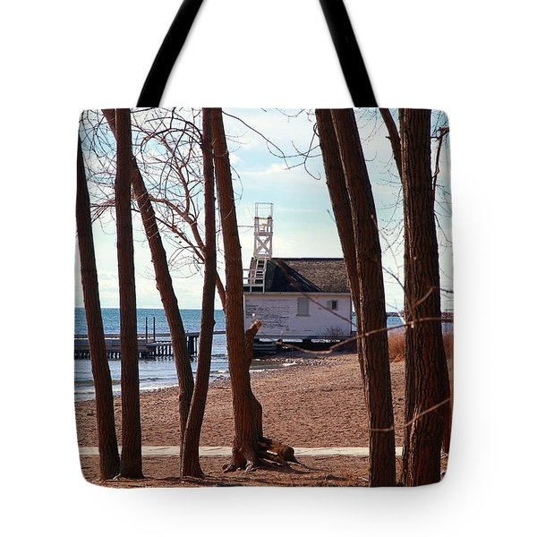 Tote Bag featuring the photograph By The Lake by Valentino Visentini