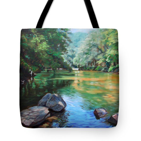 By The River Tote Bag by Bonnie Mason