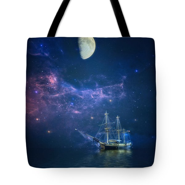 By Way Of The Moon And Stars Tote Bag by John Rivera
