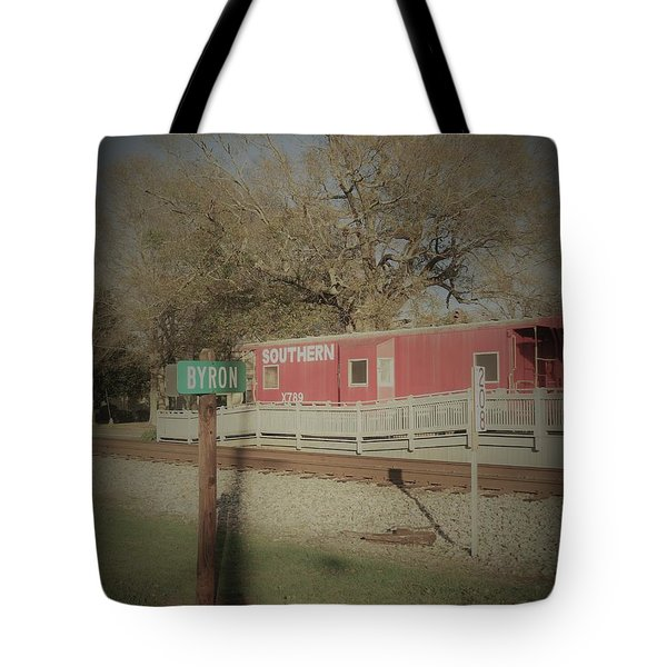 Tote Bag featuring the photograph Byron Town By The Tracks by Aaron Martens