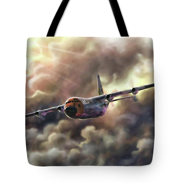 Tote Bag featuring the painting C-130 Hercules by Dave Luebbert