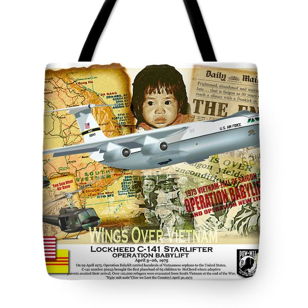 Tote Bag featuring the drawing C-141 Operation Baby Lift by Kenneth De Tore
