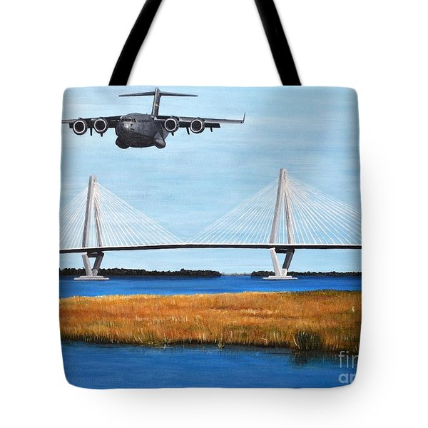 C-17 And Ravenel Bridge Tote Bag