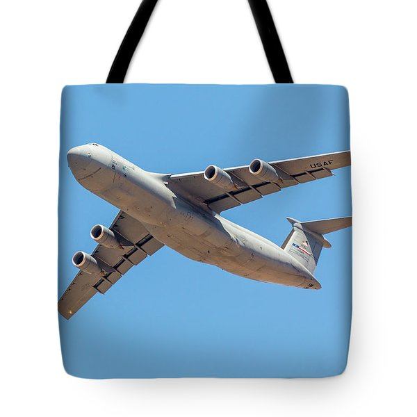 Tote Bag featuring the photograph C5 Galaxy In Flight by SR Green