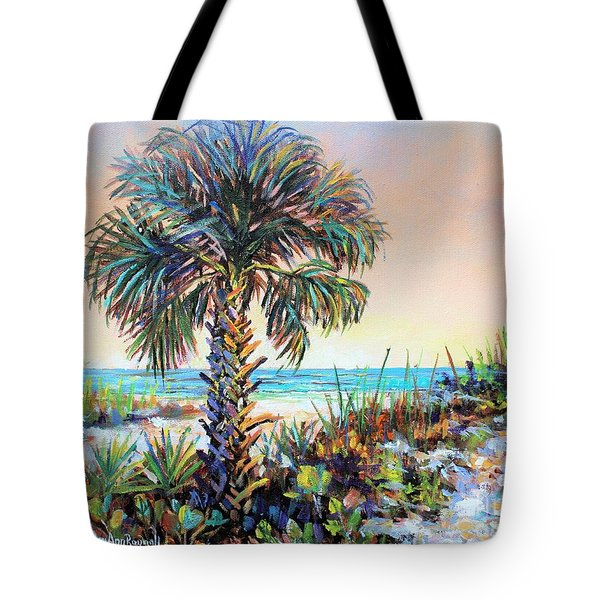Cabbage Palm On Siesta Key Beach Tote Bag by Lou Ann Bagnall