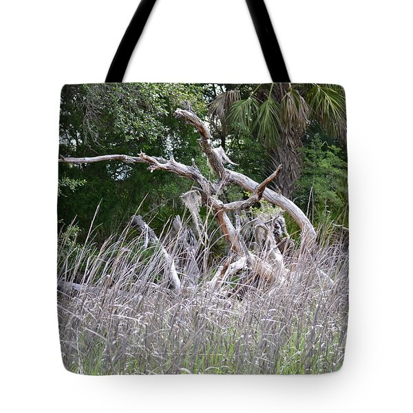 Tote Bag featuring the photograph Cabbage Palms And Driftwood by Carol  Bradley