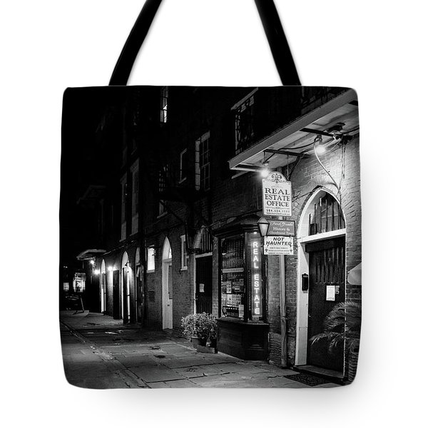 Cabildo Alley At Night In Black And White Tote Bag