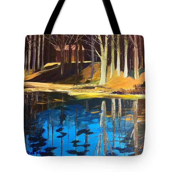 Tote Bag featuring the painting Cabin #2 by Jane Croteau