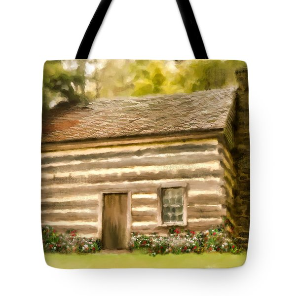 Tote Bag featuring the photograph Cabin At Abbott Lake by Mary Timman