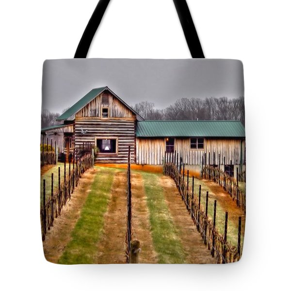 Cabin At Autumn Creek Vineyard Tote Bag