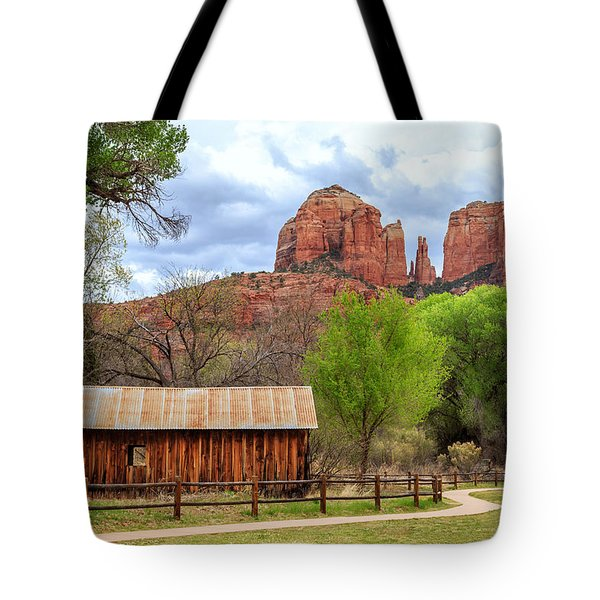 Tote Bag featuring the photograph Cabin At Cathedral Rock by James Eddy