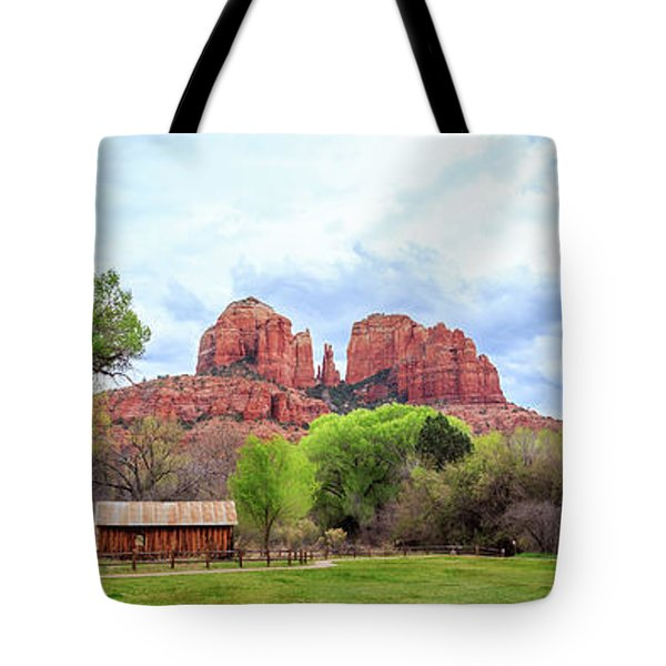 Tote Bag featuring the photograph Cabin At Cathedral Rock Panorama by James Eddy
