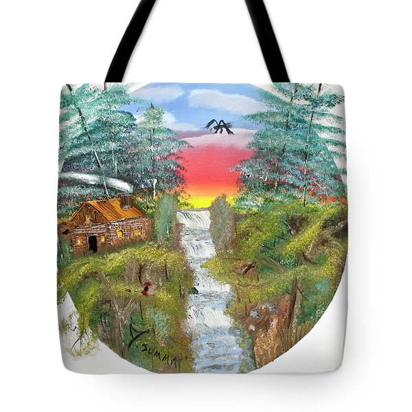 Cabin By The Falls Tote Bag