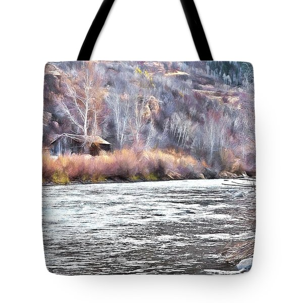 Cabin By The River In Steamboat,co Tote Bag by James Steele
