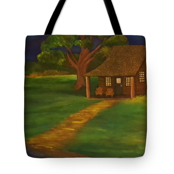 Cabin By The Water Tote Bag by Christy Saunders Church