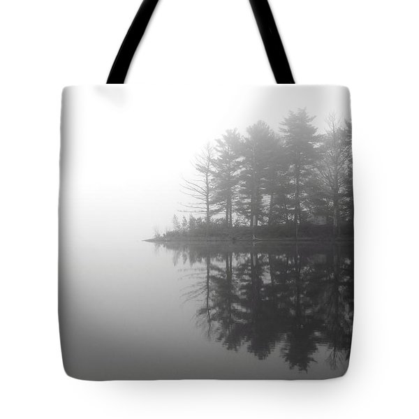 Cabin In The Foggy Woods Tote Bag