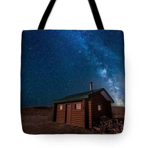 Cabin In The Night Tote Bag