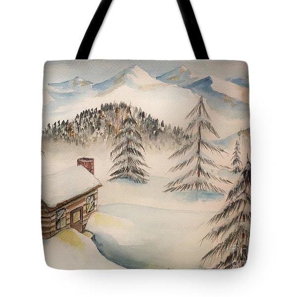 Cabin In The Rockies Tote Bag
