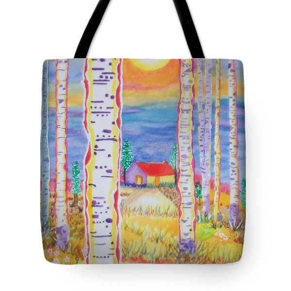 Tote Bag featuring the painting Cabin In The Woods by Connie Valasco