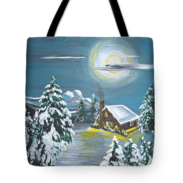 Tote Bag featuring the painting Cabin In The Woods by Donna Blossom