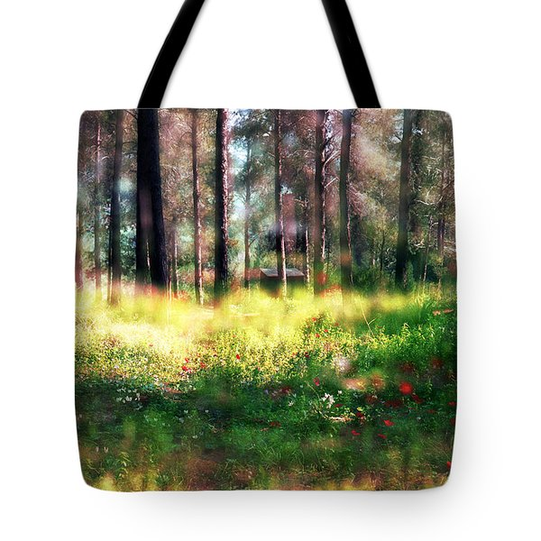 Tote Bag featuring the photograph Cabin In The Woods In Menashe Forest by Dubi Roman