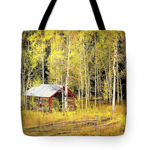 Cabin In The Golden Woods Tote Bag by Karen Shackles