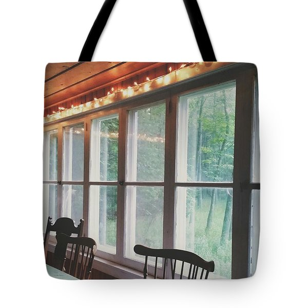Tote Bag featuring the photograph Cabin In The Woods by Nikki McInnes