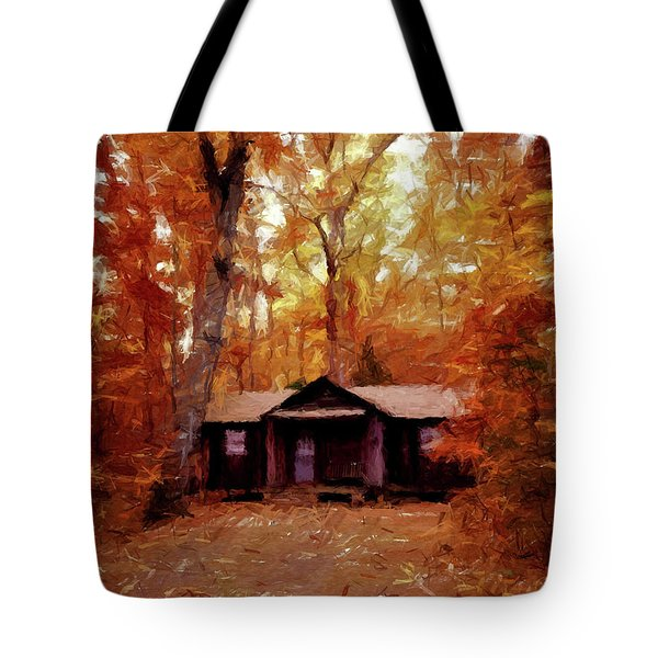 Tote Bag featuring the painting Cabin In The Woods P D P by David Dehner