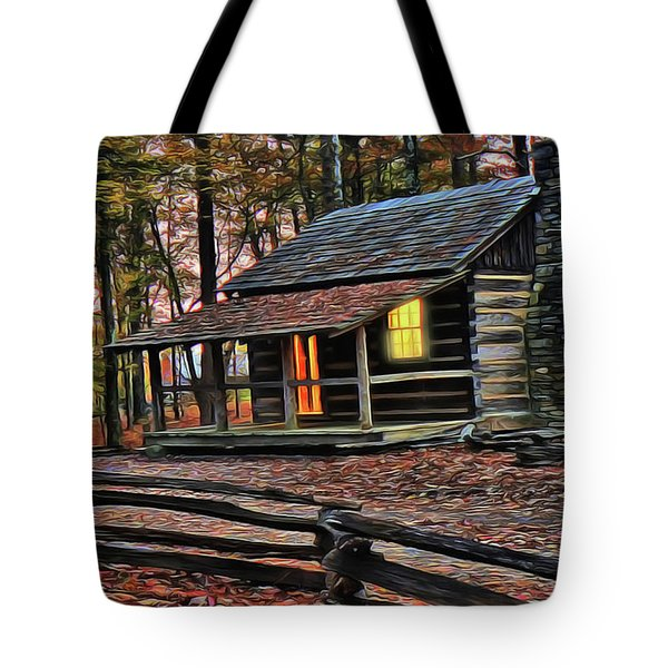 Tote Bag featuring the painting Cabin Light by Harry Warrick