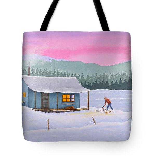 Cabin On A Frozen Lake Tote Bag