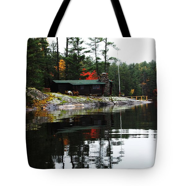 Cabin On The Rocks Tote Bag
