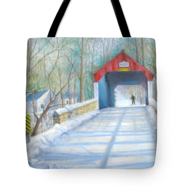 Tote Bag featuring the painting Cabin Run Bridge In Winter by Oz Freedgood