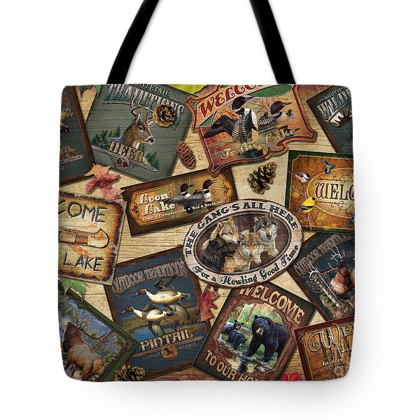 Cabin Sign Collage Tote Bag
