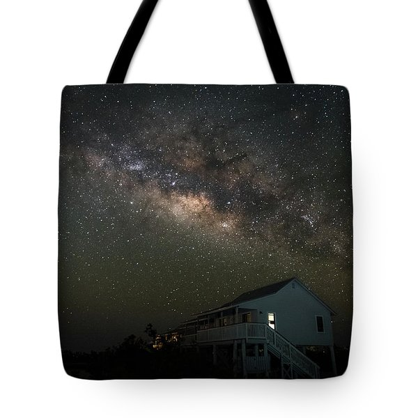 Cabin Under The Milky Way Tote Bag
