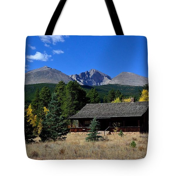 Cabin With A View Of Long's Peak Tote Bag