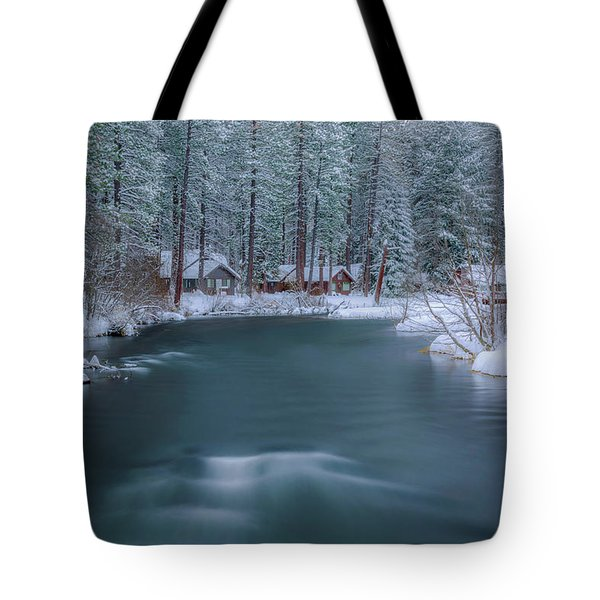 Tote Bag featuring the photograph Cabins On The Metolius by Cat Connor