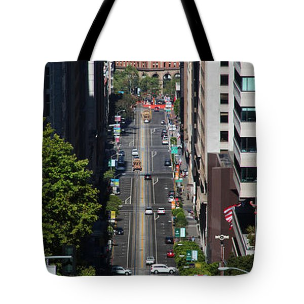 Cable Car And The Bay Bridge Tote Bag by Wernher Krutein