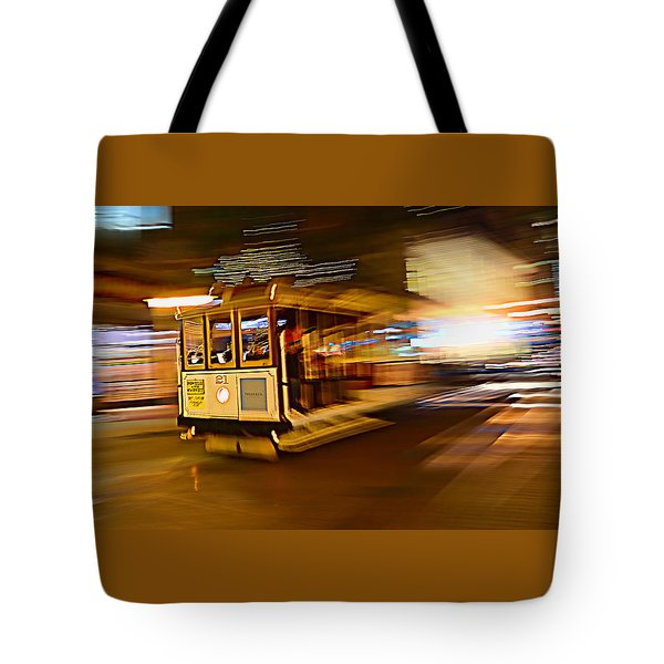 Tote Bag featuring the photograph Cable Car At Light Speed by Steve Siri