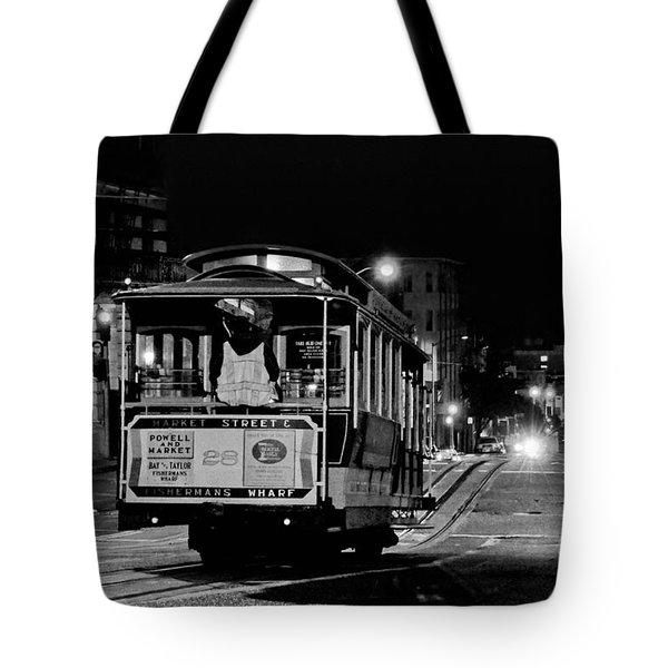 Cable Car At Night - San Francisco Tote Bag